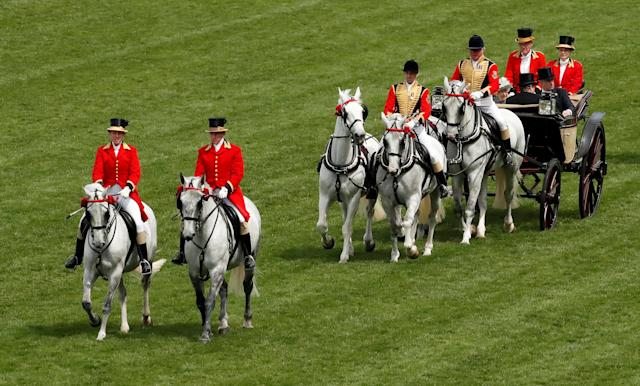 Horse Racing - Royal Ascot - Ascot Racecourse, Ascot, Britain - June 23, 2018 General view of Britain's Queen Elizabeth during the royal procession before the start of the racing Action Images via Reuters/Andrew Boyers