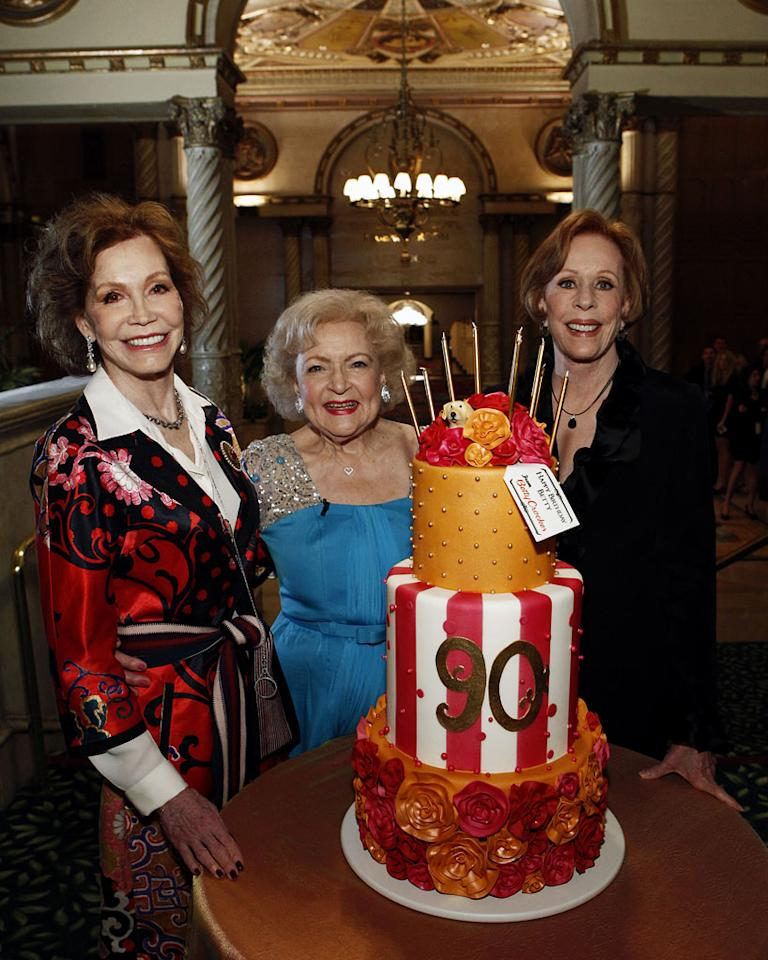 "Mary Tyler Moore, Betty White, and [ytvperson id=29717]Carol Burnett[/ytvperson on ""Betty White's 90th Birthday: A Tribute to America's Golden Girl"""