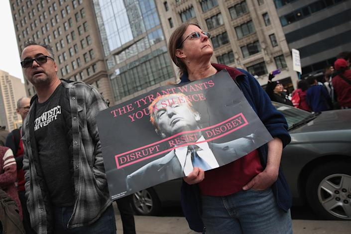 """<p>Demonstrators stage a """"Not my President's Day"""" protest near Trump Tower in Chicago, Feb. 20, 2017. (Photo: Scott Olson/Getty Images) </p>"""