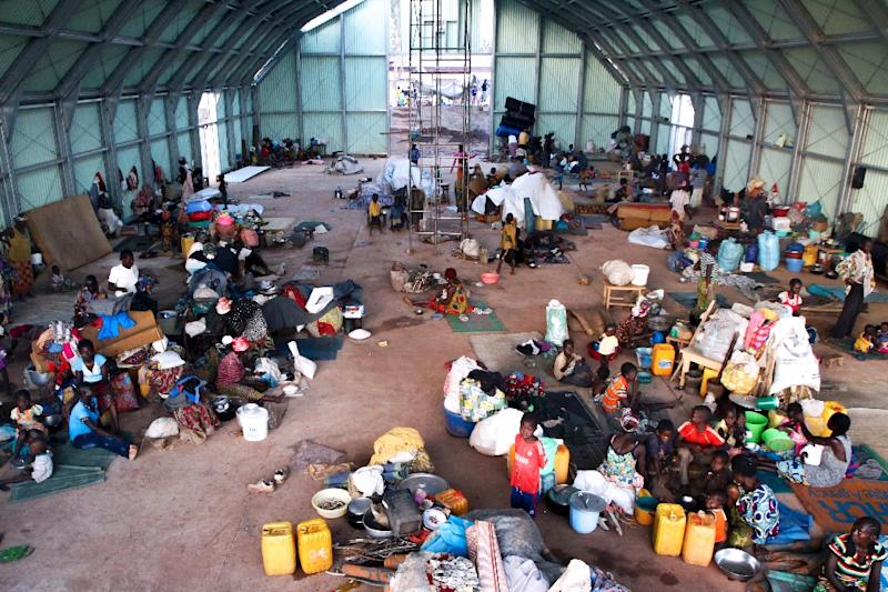 Refugees sit on the floor at a camp for internally displaced people in Kaga Bandoro, Central African Republic, in October 2016 (AFP Photo/EDOUARD DROPSY)