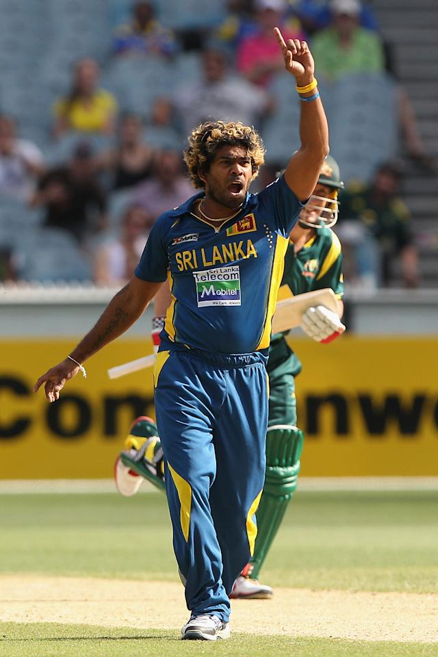 MELBOURNE, AUSTRALIA - JANUARY 11:  Lasith Malinga of Sri Lanka appeals unsuccessfully during game one of the Commonwealth Bank One Day International series between Australia and Sri Lanka at Melbourne Cricket Ground on January 11, 2013 in Melbourne, Australia.  (Photo by Robert Prezioso/Getty Images)