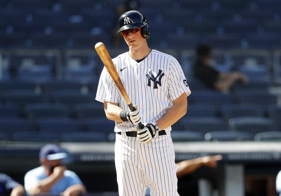 NEW YORK, NEW YORK - MAY 27: (NEW YORK DAILIES OUT)  DJ LeMahieu #26 of the New York Yankees in action against the Toronto Blue Jays at Yankee Stadium on May 27, 2021 in New York City. The Blue Jays defeated the Yankees 2-0. (Photo by Jim McIsaac/Getty Images)