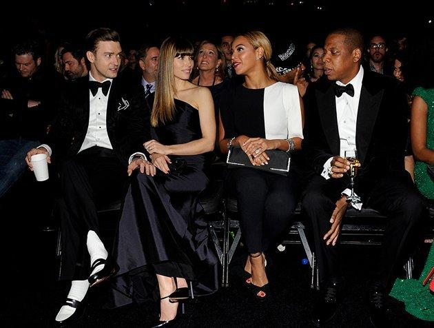 <p>Talk about a power row. Jay-Z and Beyonce were the Grammy royalty alongside Justin Timberlake and wife Jessica Biel.</p>
