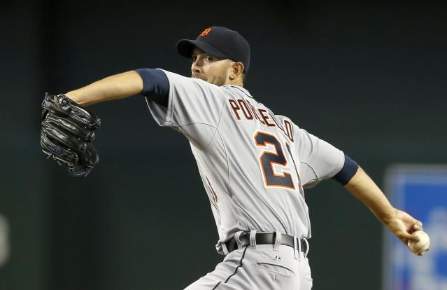 Detroit Tigers' Rick Porcello throws a pitch against the Arizona Diamondbacks during the first inning of a baseball game on Tuesday, July 22, 2014, in Phoenix. (AP Photo)