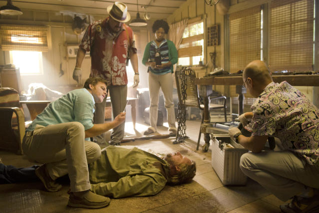 "Michael C. Hall as Dexter Morgan, David Zayas as Angel Batista, Dana L. Wilson as Detective Angie Miller, and C.S. Lee as Vince Masuka in the ""Dexter"" Season 8 episode, ""What's Eating Dexter Morgan?"""