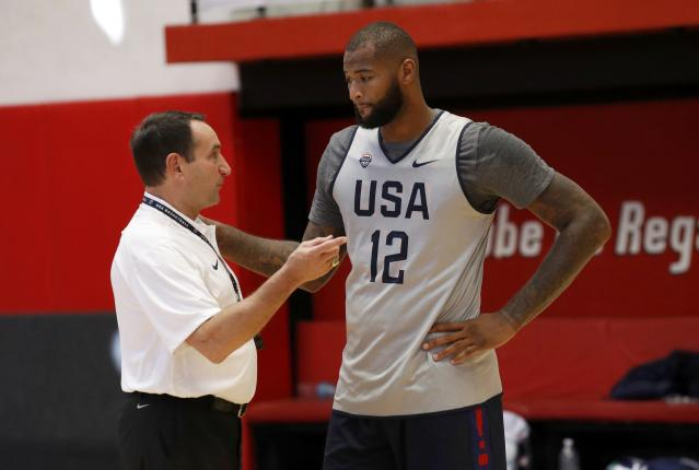 2016 Rio Olympics - Basketball - Preliminary - USA men's training session - Flamengo Club - Rio de Janeiro, BrazilHead coach Mike Krzyzewski speaks to DeMarcus Cousins (USA) of the U.S. during training. REUTERS/Jim Young FOR EDITORIAL USE ONLY. NOT FOR SALE FOR MARKETING OR ADVERTISING CAMPAIGNS.