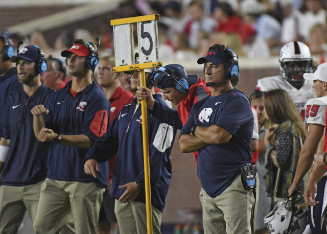 South Alabama head coach Joey Jones watches on during the second half of an NCAA college football game against Mississippi in Oxford, Miss., Saturday, Sept. 2, 2017. Mississippi won 47-27. (AP Photo/Thomas Graning)