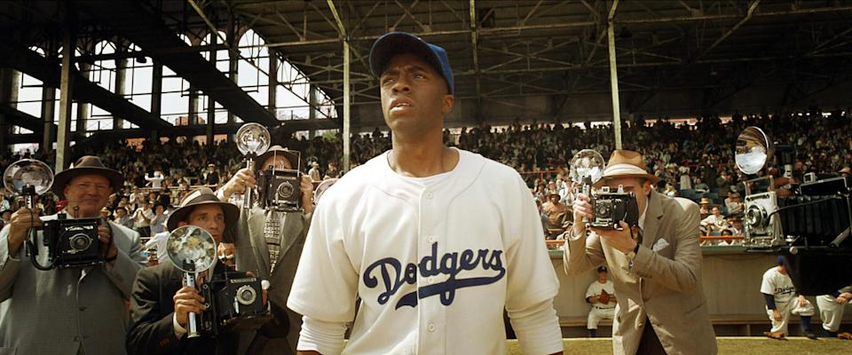 Jackie Robinson wearing his Dodgers uniform in the film