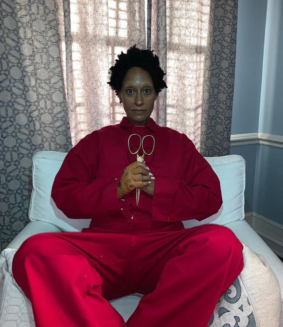 We have chills just looking at this. Tracee Ellis Ross masterfully pulled off Red, Lupita Nyong'o's terrifying character in Jordan Peele's <em>Us</em>.