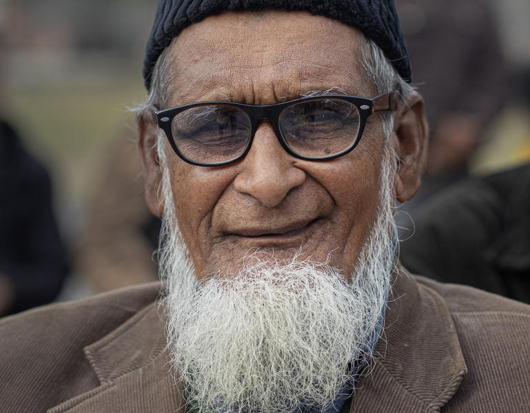 In this Monday, Dec. 23, 2019, photo, Sayad Jaherul Islam, 78, participates in a protest against Citizenship Amendment Act (CAA) in Gauhati, India, Monday, Dec. 23, 2019. Tens of thousands of protesters have taken to India's streets to call for the revocation of the law, which critics say is the latest effort by Narendra Modi's government to marginalize the country's 200 million Muslims.  Islam said the act that the Indian government has forcefully passed is not acceptable. (AP Photo/Anupam Nath)