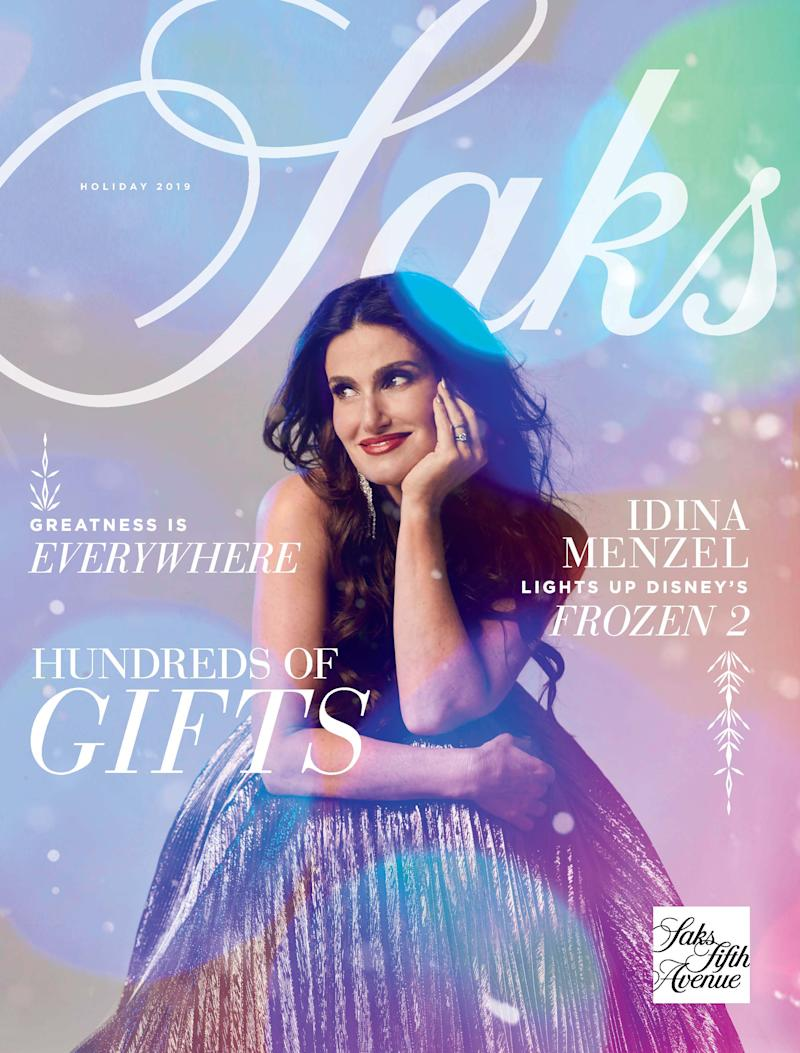 "Saks is featuring ""Frozen"" star Idina Menzel on its holiday catalog. (Photo: Saks Fifth Avenue)"