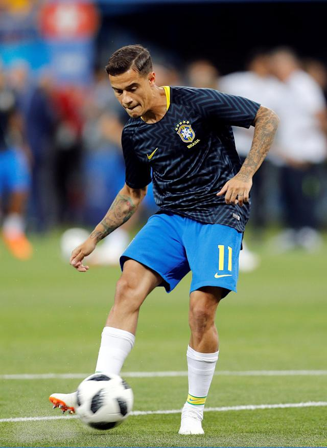 Soccer Football - World Cup - Group E - Brazil vs Switzerland - Rostov Arena, Rostov-on-Don, Russia - June 17, 2018 Brazil's Philippe Coutinho during the warm up before the match REUTERS/Darren Staples