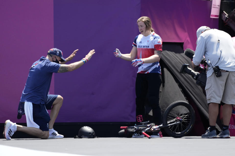 Charlotte Worthington of Britain reacts after competing in the women's BMX freestyle final at the 2020 Summer Olympics, Sunday, Aug. 1, 2021, in Tokyo, Japan. (AP Photo/Ben Curtis)