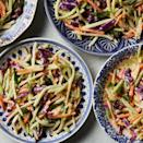 """<p>Use up unused broccoli stems by making your own broccoli slaw instead of using the bagged slaw in this easy potluck favorite. Trim and peel the stalks with a vegetable peeler, then cut 3 cups of matchsticks with the julienne blade on a mandoline or by hand. <a href=""""http://www.eatingwell.com/recipe/262662/quick-broccoli-slaw/"""" rel=""""nofollow noopener"""" target=""""_blank"""" data-ylk=""""slk:View recipe"""" class=""""link rapid-noclick-resp""""> View recipe </a></p>"""