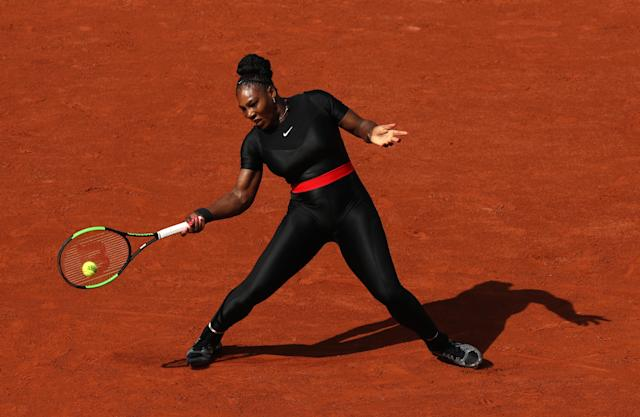 "<a class=""link rapid-noclick-resp"" href=""/olympics/rio-2016/a/1132744/"" data-ylk=""slk:Serena Williams"">Serena Williams</a> wore a black bodysuit at the 2018 French Open, but organizers have banned such attire for 2019. (Getty)"