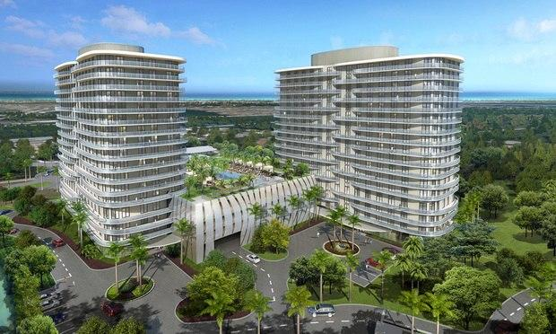 The SoLeMia Miami development to rise in North Miami will include residences, restaurants, shopping and a hotel. The first part of the project, two 17-story residential towers with a parking garage and amenities, will be finished in this summer. Courtesy of SoleMia Miami.