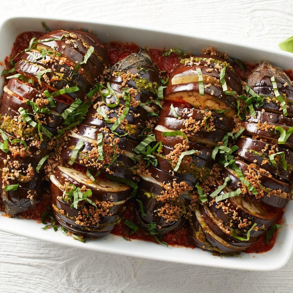 <p>The coolest way to make classic eggplant parm--and easier too! Use the hasselback technique to make partial cuts into the whole eggplant every 1/4 inch or so to fill up with melty cheese, flavorful sauce and crunchy breadcrumbs.</p>