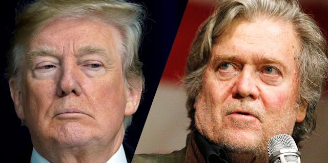 Donald Trump and Steve Bannon. (Photos: Yuri Gripas/Reuters, Brynn Anderson/AP)