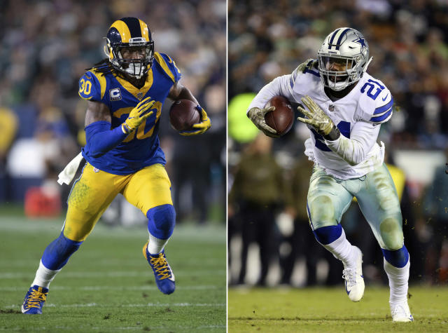 FILE - At left, in a Dec. 16, 2018, file photo, Los Angeles Rams running back Todd Gurley sprints in an NFL football game against the Philadelphia Eagles, in Los Angeles. At right, in a Nov. 11, 2018, file photo, Dallas Cowboys running back Ezekiel Elliott (21) runs against the Philadelphia Eagles during an NFL football game, in Philadelphia. Gurley is a big football fan, and Elliott is one of his favorite players. The good feelings are mutual heading into the Cowboys' playoff visit to the Rams and a showdown between the NFL's two premiere running backs. (AP Photo/File)