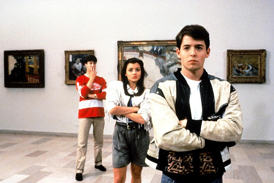 """<p>Bueller? Bueller? Ferris (Matthew Broderick) basically lives out every teen's dream day of skipping school with his best friends in this John Hughes classic.</p> <p><em>Available to rent on</em> <a href=""""https://www.amazon.com/gp/video/detail/B001D0DQUC/ref=atv_dl_rdr"""" rel=""""nofollow noopener"""" target=""""_blank"""" data-ylk=""""slk:Amazon Prime Video"""" class=""""link rapid-noclick-resp""""><em>Amazon Prime Video</em></a>.</p>"""
