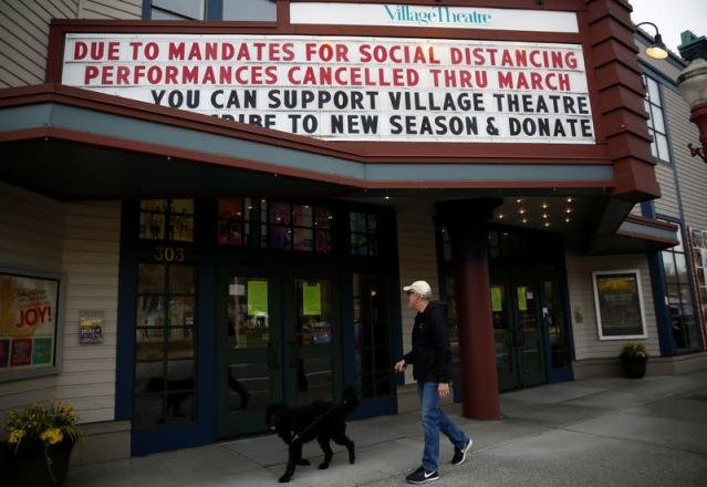 The Village Theatre marquee announcing cancellation of March performances due to the coronavirus disease (COVID-19) outbreak, photographed at the Francis J. Gaudette Theatre in Issaquah