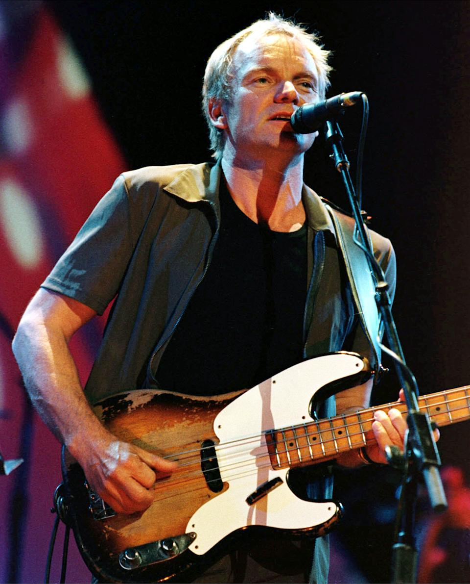British rock singer Sting, shown performing May 23, 2000 at the Palacio Euskaldun in Bilbao, Spain, celebrates his 49th birthday on October 2, 2000. Born Gordon Sumner in Wallsend, England, the former lead singer of the Police got his nickname because of the yellow and black jersey he wore frequently. BK/RCS