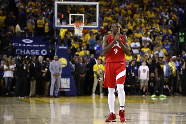 Serge Ibaka #9 of the Toronto Raptors reacts late in the game against the Golden State Warriors during Game Six of the 2019 NBA Finals at ORACLE Arena on June 13, 2019 in Oakland, California. (Photo by Ezra Shaw/Getty Images)