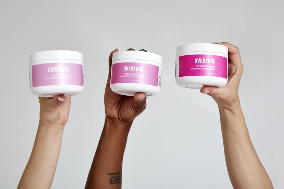 """<p>In case you wanted to get really shade-specific, Overtone's pink options include Extreme, Vibrant, Pastel Pink, Rose Gold, and Pink for Brown Hair. Yes, Overtone nailed down a formula for brunettes that works so well that it won a 2019 <a href=""""https://www.allure.com/gallery/best-of-beauty-hair-product-winners?mbid=synd_yahoo_rss"""" rel=""""nofollow noopener"""" target=""""_blank"""" data-ylk=""""slk:Best of Beauty"""" class=""""link rapid-noclick-resp"""">Best of Beauty</a> award. And the process is really simple: Apply <a href=""""https://www.allure.com/story/overtone-purple-for-brown-hair-color-depositing-conditioner-review?mbid=synd_yahoo_rss"""" rel=""""nofollow noopener"""" target=""""_blank"""" data-ylk=""""slk:Overtone's Deep Treatment"""" class=""""link rapid-noclick-resp"""">Overtone's Deep Treatment</a> for 10 to 15 minutes to deposit intense color and follow up with the matching daily conditioner for three to five minutes during subsequent washes to maintain the initial color. Both are infused with avocado oil, shea butter, and coconut oil for extra hydration and conditioning.</p> <p><strong>Starting at $18</strong> (<a href=""""https://overtone.co/collections/shop-by-color-pink"""" rel=""""nofollow noopener"""" target=""""_blank"""" data-ylk=""""slk:Shop Now"""" class=""""link rapid-noclick-resp"""">Shop Now</a>)</p>"""