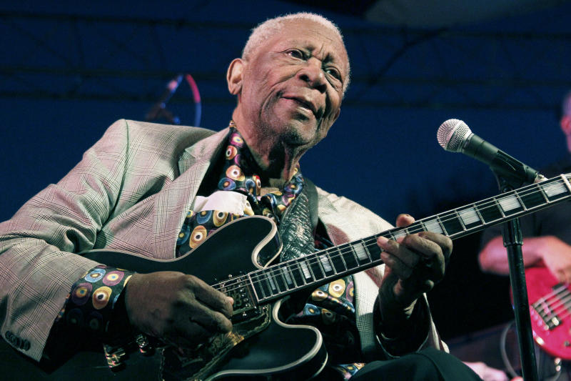 In this Aug. 22, 2012 photograph, an 86-year-old B.B. King thrills a crowd of several hundred people at the 32nd annual B.B. King Homecoming, a concert on the grounds of an old cotton gin where he worked as a teenager many years ago, in Indianola, Miss. Now the place_ the B.B. King Museum and Delta Interpretive Center _ is a monument to him and the blues. (AP Photo/Rogelio V. Solis)