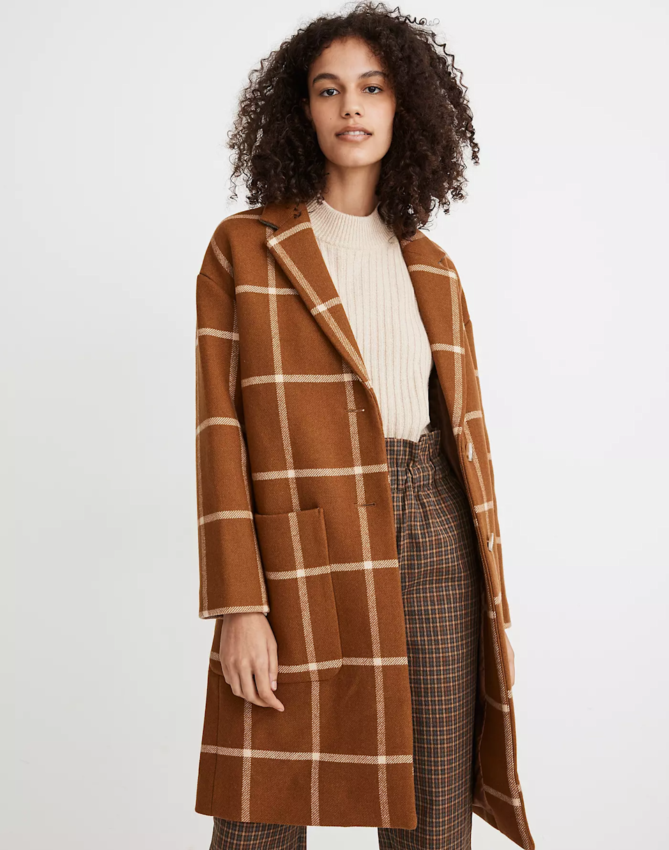 """<br><br><strong>Madewell</strong> Windowpane Elmcourt Coat, $, available at <a href=""""https://go.skimresources.com/?id=30283X879131&url=https%3A%2F%2Fmadewell.com%2Fwindowpane-elmcourt-coat-in-insuluxe-fabric-MA313.html%3Fcolor%3DWY4411"""" rel=""""nofollow noopener"""" target=""""_blank"""" data-ylk=""""slk:Madewell"""" class=""""link rapid-noclick-resp"""">Madewell</a>"""