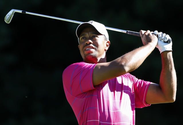 Tiger Woods watches his shot from the 11th tee during the Pro Am round of the Deutsche Bank Championship golf tournament at TPC Boston in Norton, Mass., Thursday, Aug. 30, 2012. (AP Photo/Michael Dwyer)