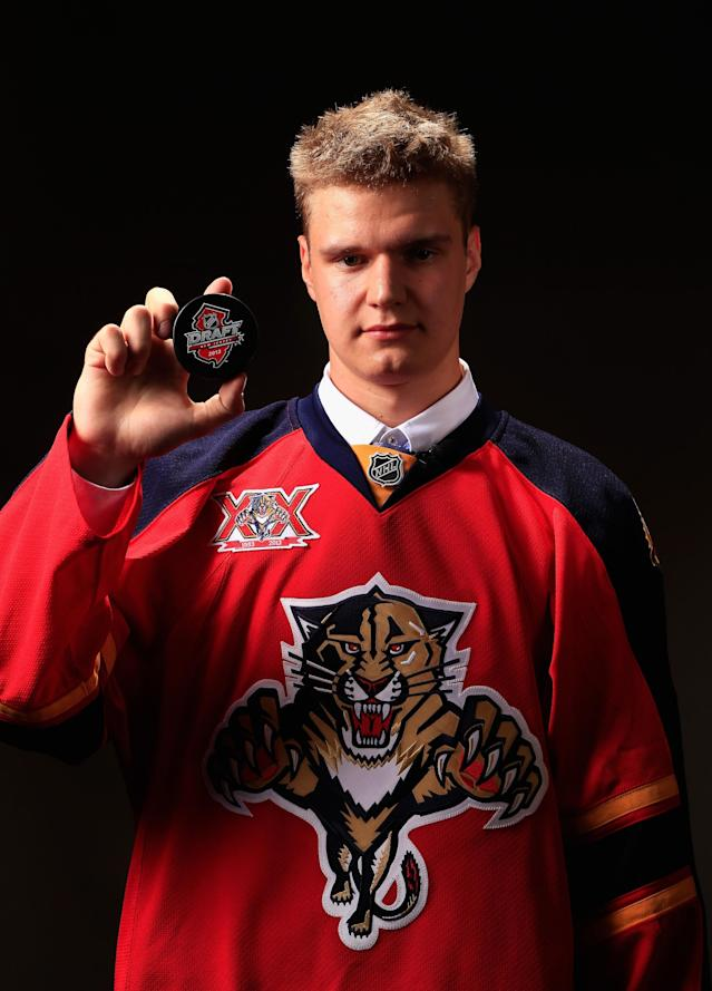 NEWARK, NJ - JUNE 30: Aleksander Barkov poses for a portrait after being selected number two overall in the first round by the Florida Panthers during the 2013 NHL Draft at the Prudential Center on June 30, 2013 in Newark, New Jersey. (Photo by Jamie Squire/Getty Images)