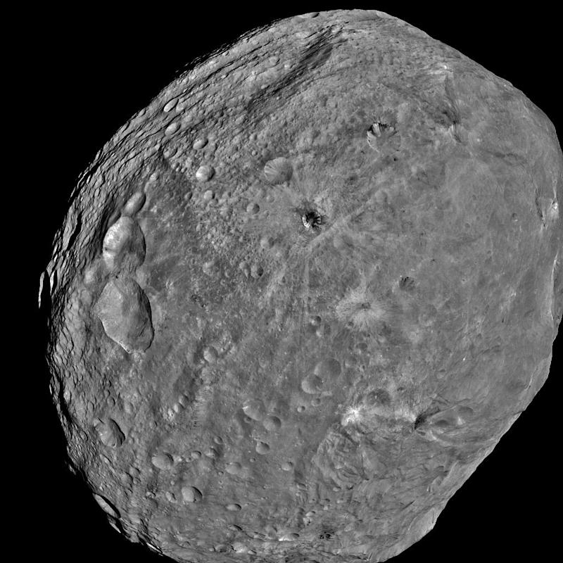 This July 24, 2011 image of the Asteroid Vesta, released by NASA/JPL, was captured by the Dawn spacecraft at a distance of 3,200 miles (5,200 kilometers).  Dawn entered orbit around Vesta on July 15, and will spend a year orbiting the body. After that, the next stop on its itinerary will be an encounter with the dwarf planet Ceres. (AP Photo/ NASA/JPL)