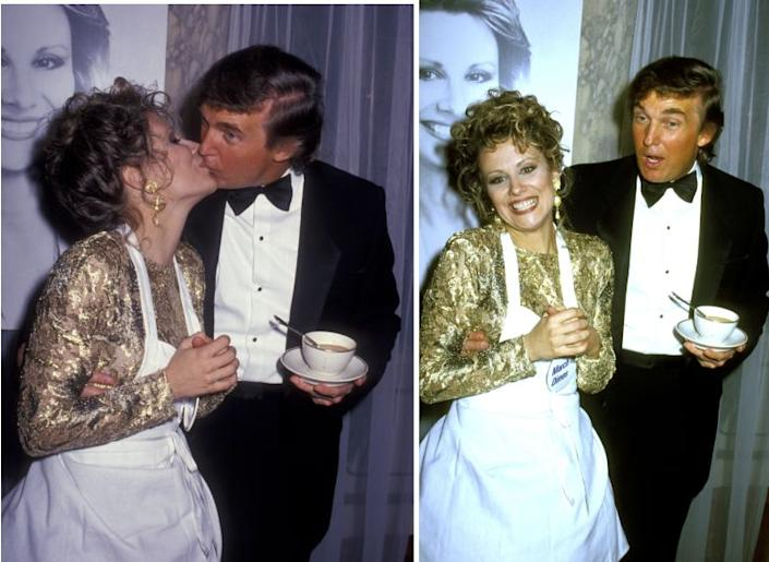 Donald Trump kisses Faith Daniels at the Fifth Annual Gourmet Gala March of Dimes Benefit in 1992 at the Plaza Hotel in New York City. (Photo: Ron Galella/Ron Galella Collection via Getty Images)