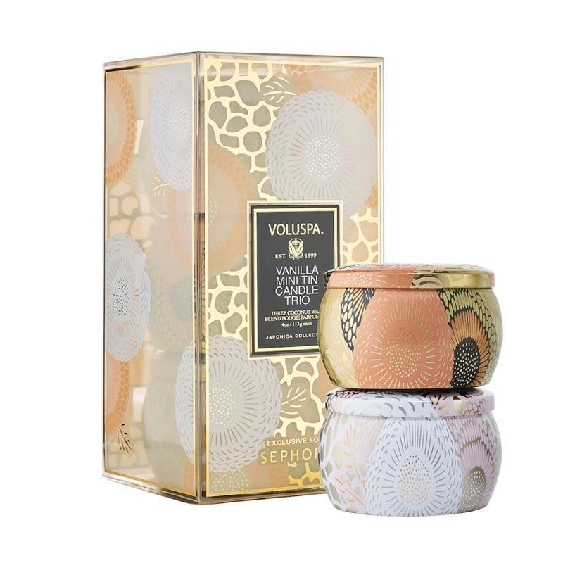 """This decadent, creamy candle trio will sweeten up their space with warming notes of vanilla and coconut while adding an artful touch to whatever surface it lands on. $24, Voluspa. <a href=""""https://shop-links.co/1719588605825916415"""" rel=""""nofollow noopener"""" target=""""_blank"""" data-ylk=""""slk:Get it now!"""" class=""""link rapid-noclick-resp"""">Get it now!</a>"""