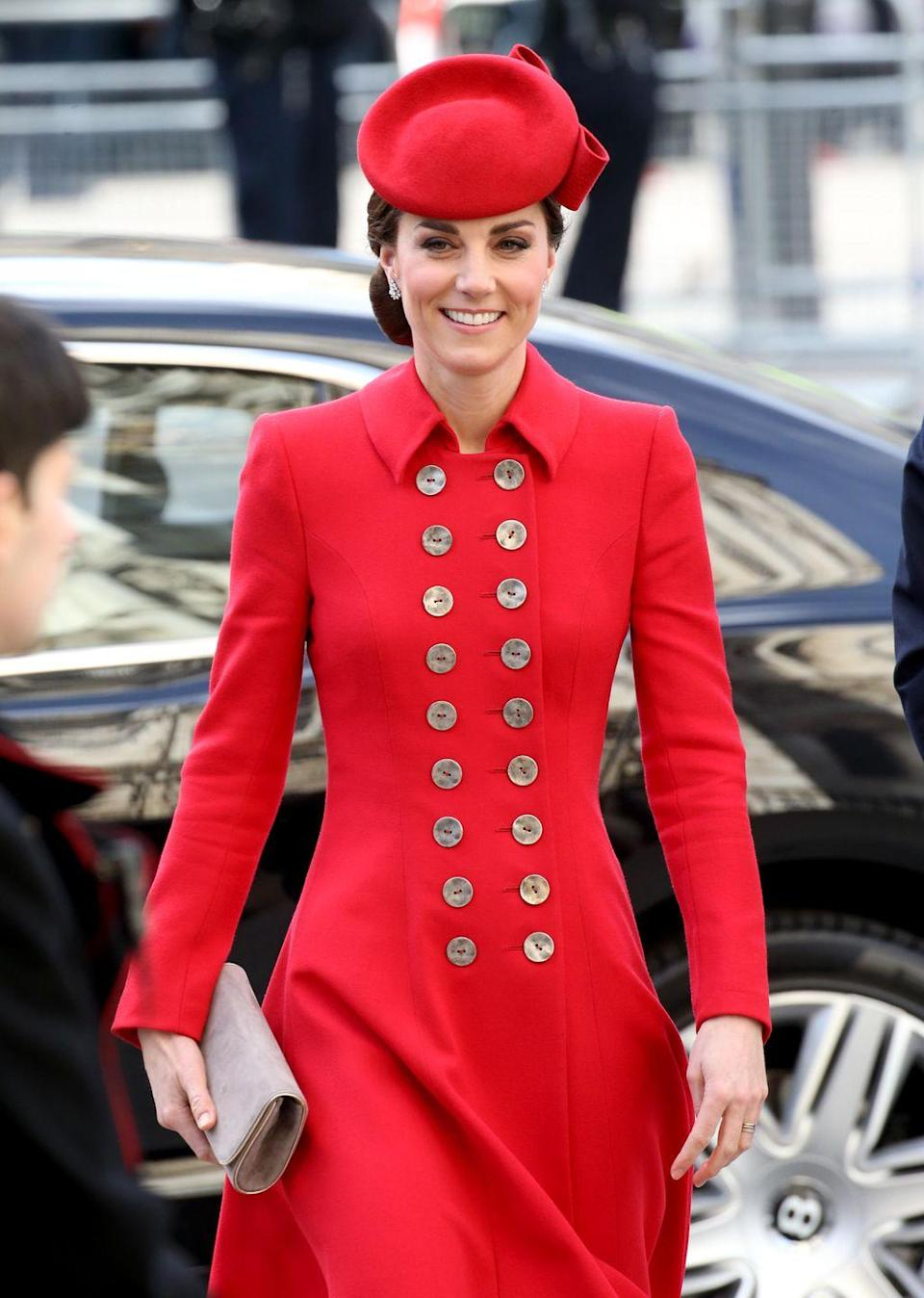 <p>For Commonwealth Day services, Kate stepped out in a bright red coatdress with a matching hat.</p>