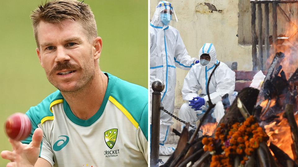 David Warner says the coronavirus outbreak in India which saw a cohort of Australian cricketers stranded overseas earlier in May was a 'terrifying' experience. Pictures: Getty Images