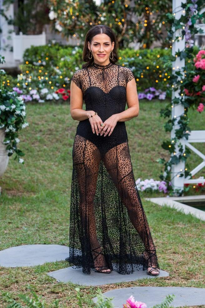 Georgie Powell in black dress on The Bachelor