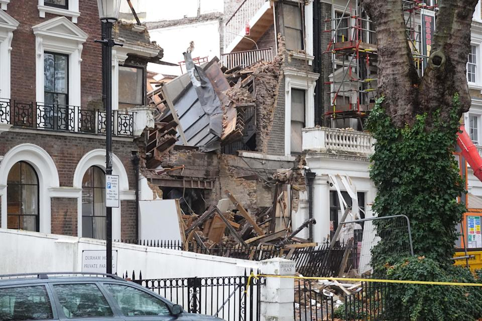 <p>Police were on scene this morning after a building collapsed on Durham Place, Chelsea London</p> (Nick Edwards)