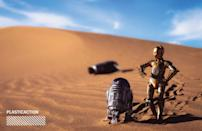 """<p>""""Living in Los Angeles and having access to desert landscapes, I knew that I needed to capture some Tatooine scenes from the film. In fact, the Imperial Sand Dunes, about a 4-hour drive from Los Angeles, was the filming location of the Sarlaac Pit and Jabba's sail barge in <em>Return of the Jedi,</em>"""" which is where Navarro captured this image. (Photo: <a href=""""https://www.instagram.com/plasticaction/"""" rel=""""nofollow noopener"""" target=""""_blank"""" data-ylk=""""slk:@plasticaction"""" class=""""link rapid-noclick-resp"""">@plasticaction</a>/Hasbro) </p>"""