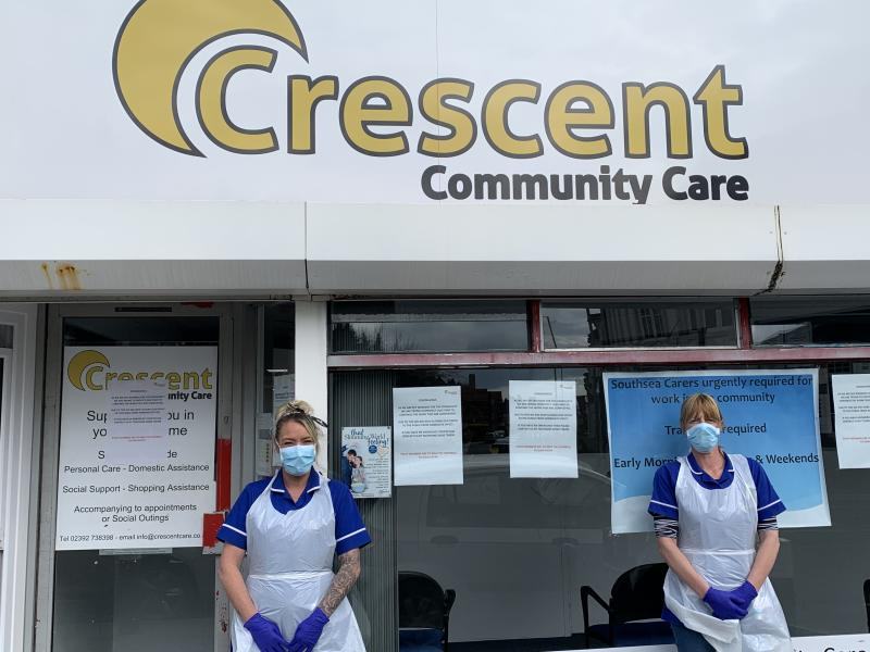 Crescent Community Care staff wearing their personal protective equipment