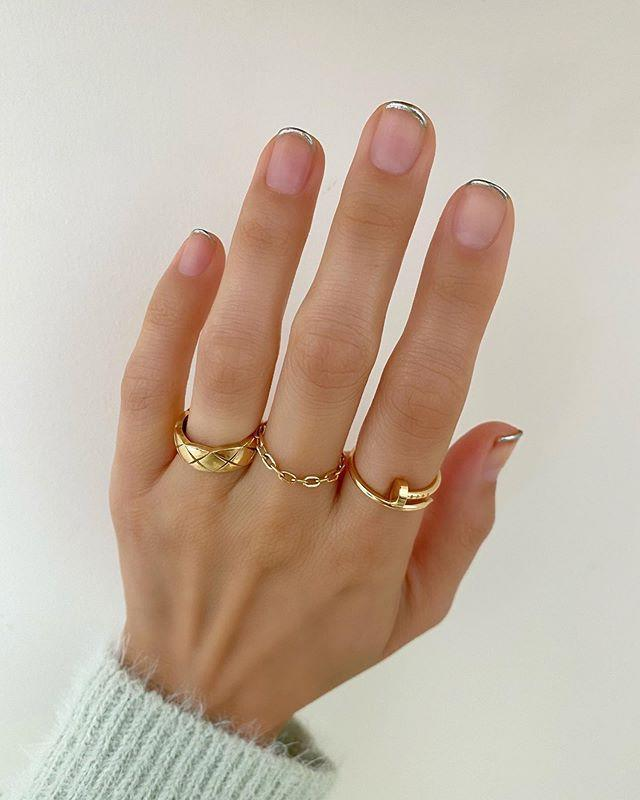 """<p>Switch up the classic French manicure with molten chrome tips.</p><p><a href=""""https://www.instagram.com/p/CBl1hB6Dmgb/?utm_source=ig_embed&utm_campaign=loading"""" rel=""""nofollow noopener"""" target=""""_blank"""" data-ylk=""""slk:See the original post on Instagram"""" class=""""link rapid-noclick-resp"""">See the original post on Instagram</a></p>"""