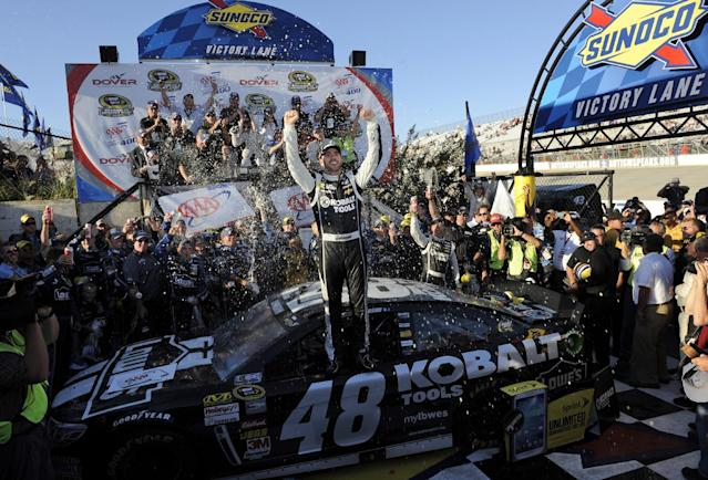 Jimmie Johnson poses for photographers in Victory Lane after he won the NASCAR Sprint Cup series auto race, Sunday, Sept. 29, 2013, at Dover International Speedway in Dover, Del. (AP Photo/Nick Wass)