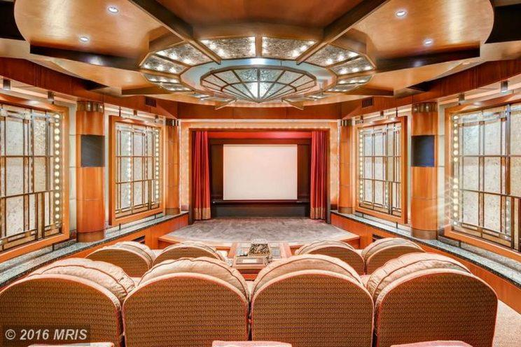 The interior of Ripken's luxury screening room. (Zillow)