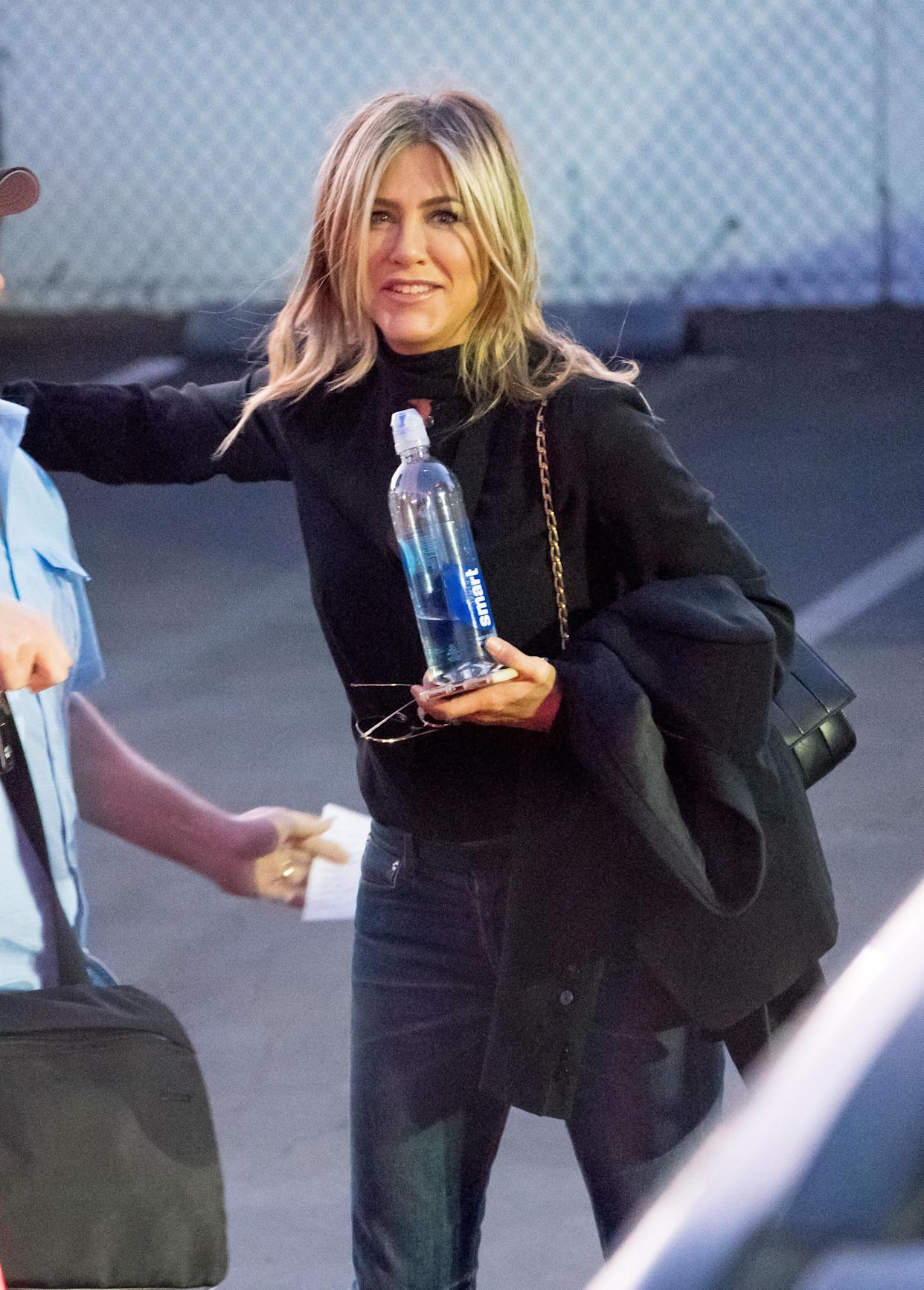 LOS ANGELES, CA - DECEMBER 05: Jennifer Aniston is seen at 'Jimmy Kimmel Live' on December 05, 2017 in Los Angeles, California. (Photo by RB/Bauer-Griffin/GC Images)