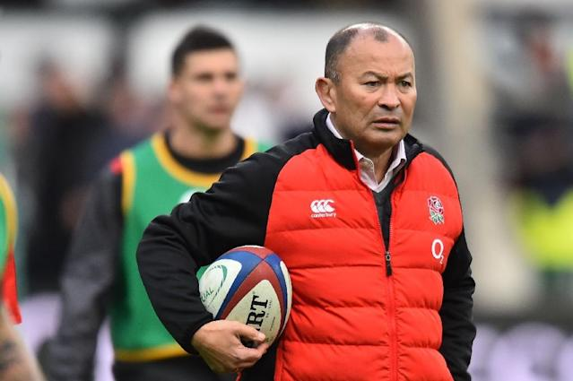 England coach Eddie Jones pictured during the international rugby union Test between England and Samoa at Twickenham Stadium in south-west London on November 25, 2017 (AFP Photo/Glyn KIRK )