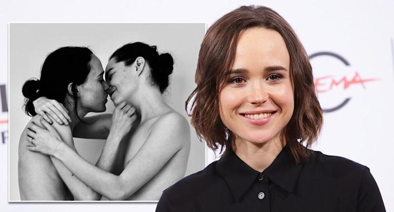 Ellen Page shared a topless picture of herself with wife Emma Portner. [Photo: Getty/Instagram]