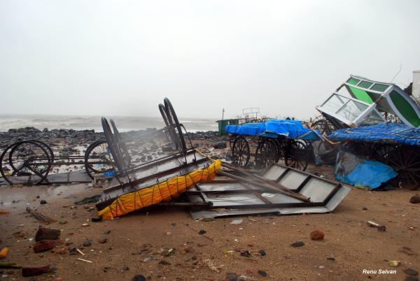 Food carts on the beach road in Puducherry were overturned and wrecked by Cyclone Thane. Photo by Yahoo! reader Renu Selvan
