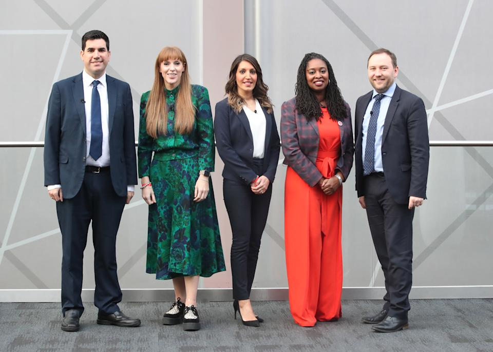 (left to right) Richard Burgon, Angela Rayner, Rosena Allin-Khan, Dawn Butler and Ian Murray before the deputy Labour leadership husting at the ACC Liverpool. (Photo by Danny Lawson/PA Images via Getty Images)