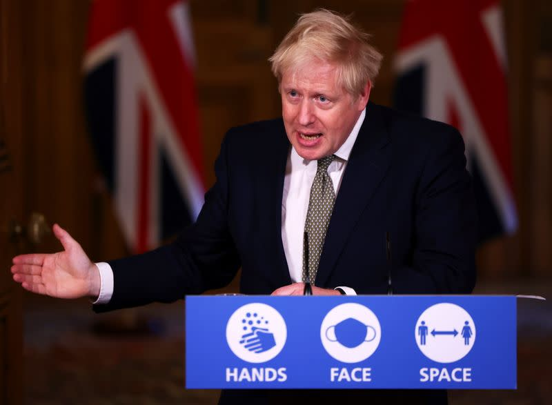 Britain's PM Johnson attends a news conference in London